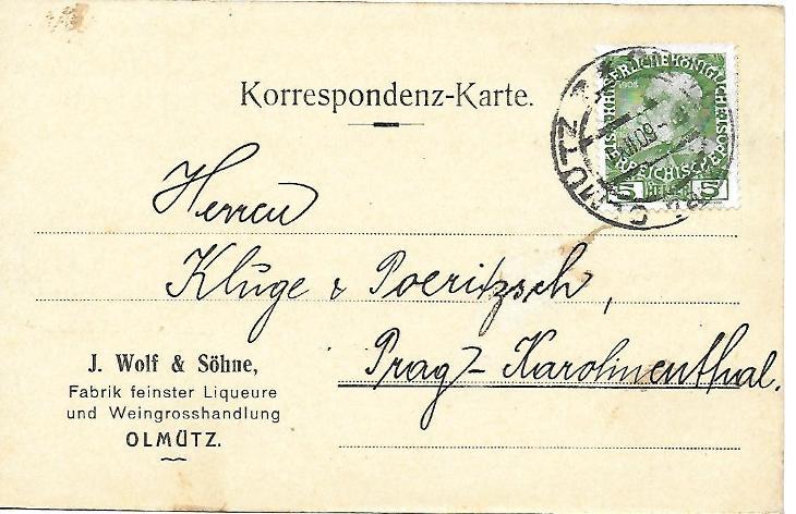 Firemní lístek Olomouc RU - Filatelie
