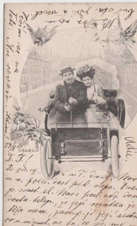 Portrét muže se ženou v autě - Pohlednice