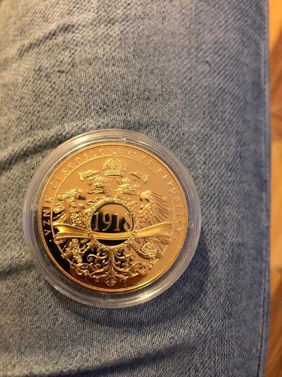 Pamětní medaile vznik Československa 1918 zlaceno 24 karát zlatem - Numismatika