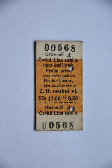 Železniční jízdenka, 1959 - Ostatní
