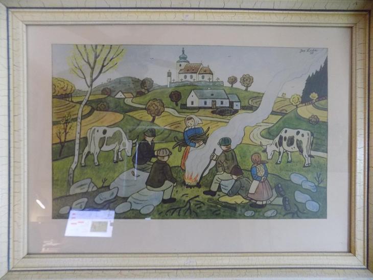Josef Lada, podzimní motiv, dobový tisk, rámováno, zaskleno - Umění