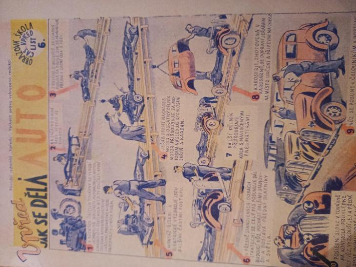 Starý komix,  Jak se dělá auto, jeden list z časopisu  Vpřed  - Komiksy