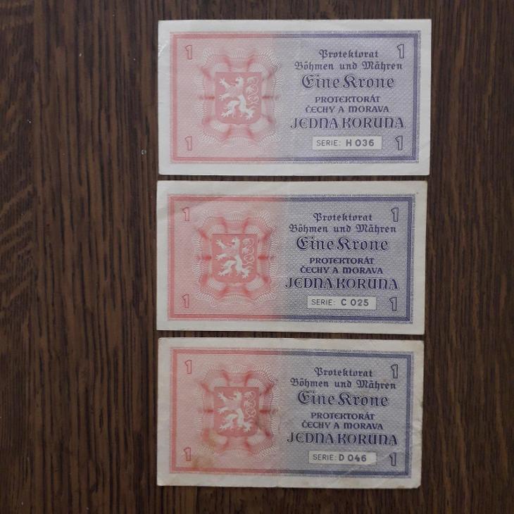 👍1K PROTEKTORÁT 1940,3KUSY,SÉRIE C,D,H.STAV 3👍 - Bankovky