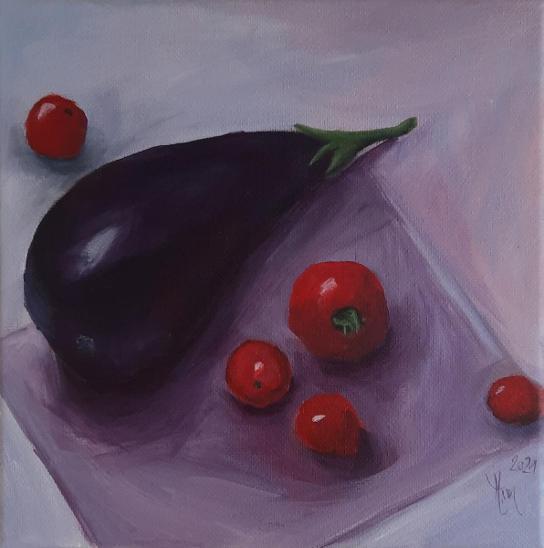 Zátiší s Lilkem - malba Akrylem 20x20 cm - Umění