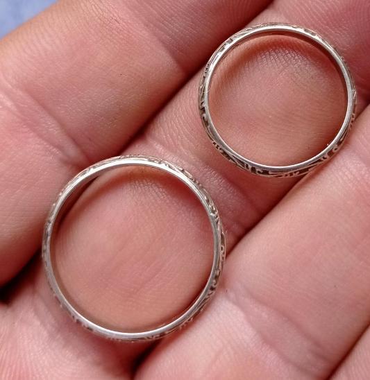 2x starý stříbrný snubní prsten  - Starožitnosti