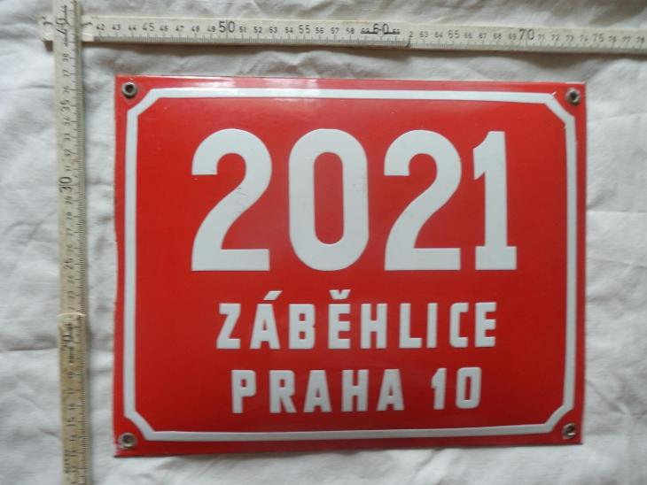 starožitný červená smalt.cedule č-2021 Zaběhlice Praha 10, 32 x 25 cm - Starožitnosti