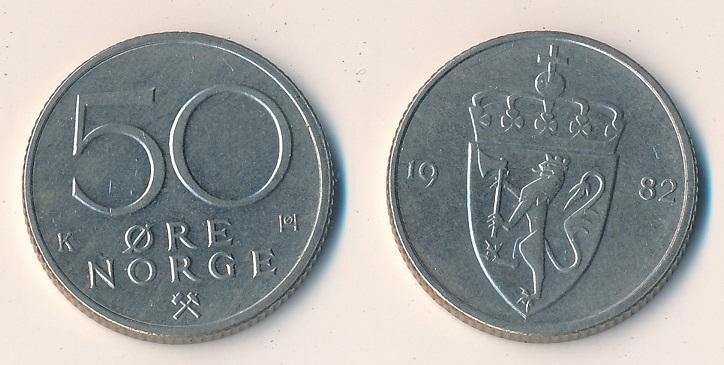 Norsko 50 ore 1982 - Numismatika