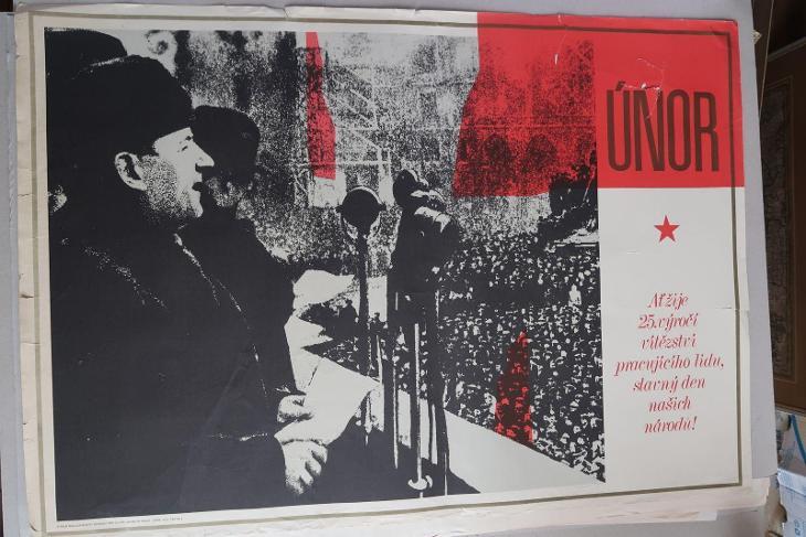 Plakát - Vítězný únor 25. výročí - komunismus, prop - Antikvariát