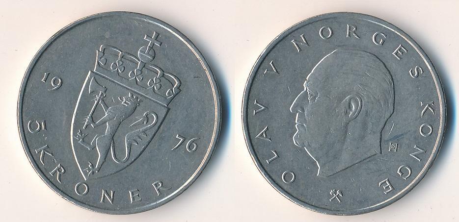 Norsko 5 korun 1976 - Numismatika