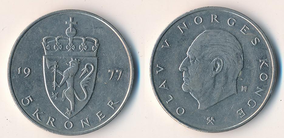 Norsko 5 korun 1977 - Numismatika