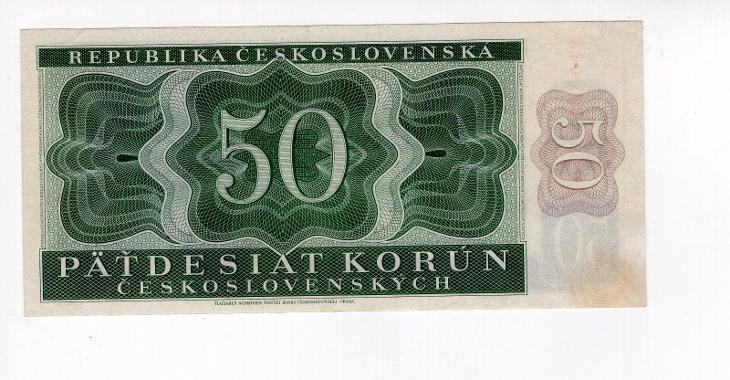 50 Kčs - 1950 - I. vydání - neperforovaná - série A 12 - Bankovky