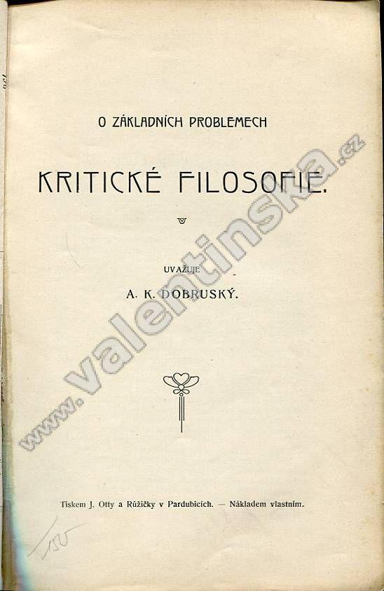 O základních problemech kritické filosofie - Knihy