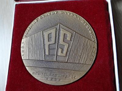 BANSKÁ BYSTRICA - POZEMNÍ STAVBY 1976, velká asi bronzová plaketa