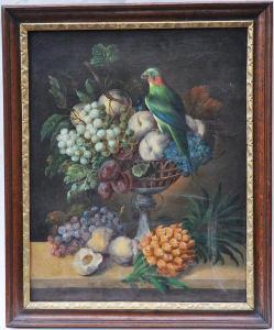 Neznámý autor - Zátiší s papouškem a ovocem