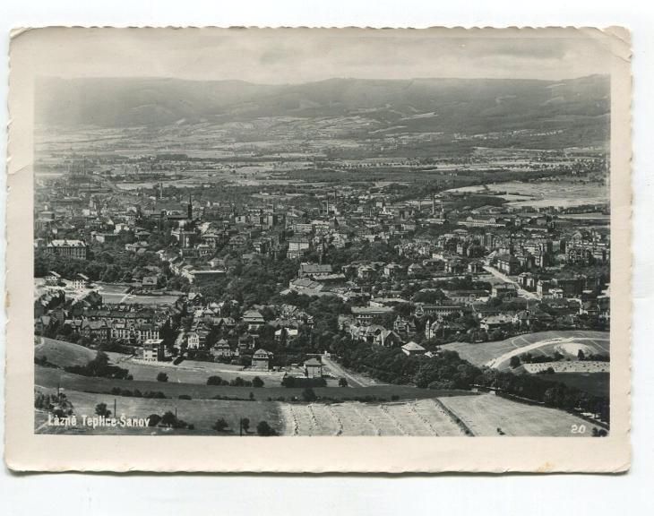 Lázně TEPLICE-ŠANOV - letecký pohled, pr. 1948 - Pohlednice