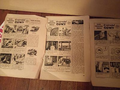 Starý komix,  výroba gumy, z časopisu Vpřed