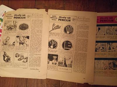 Starý komix,  penicilin, z časopisu Vpřed