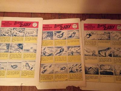 Starý komix, život žáby, z časopisu Vpřed
