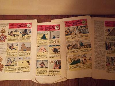 Starý komix, egyptské pyramidy, z časopisu Vpřed