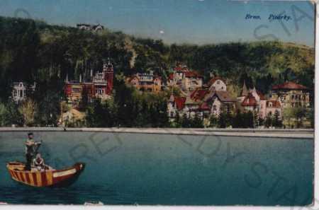 Brno, Pisárky, řeka, loďka, litografie, kolorovaná