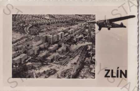 Zlín, letecký pohled, letadlo, Baťa