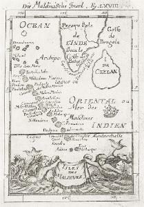 Maledivy Cejlon, Mallet, mědiryt, 1719