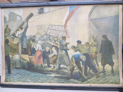 Květen 1945, revoluce, stavba barikád - školní plakát
