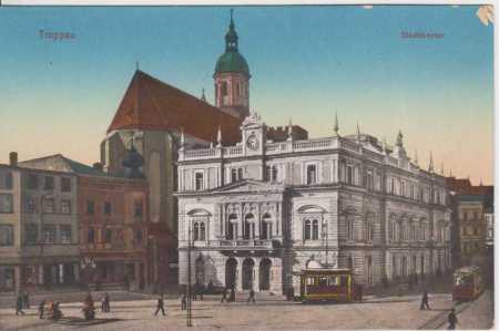 Opava (Troppau), divadlo, TRAMVAJ, kolorovaná