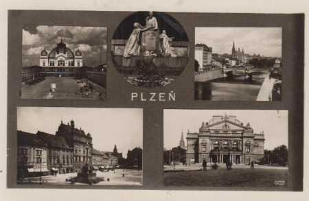 Plzeň, divadlo, náměstí, řeka - partie, socha, kol