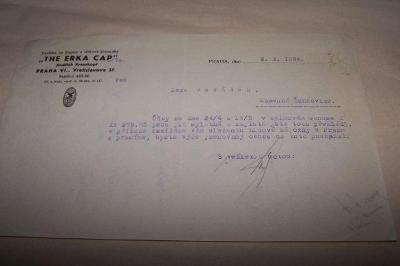 THE ERKA CAP JINDŘICH KRAUSKOPF PRAHA r. 1934 /Ř14/