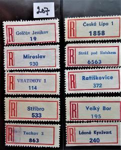 R-nálepky ČSR, 10 málo frekventovaných   kusů (207)