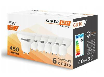 6x LED žárovka GU10 5W SuperLED 450lm 45W + dárek