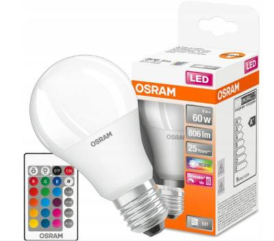 LED žárovka A60 E27 9W = 60W OSRAM STAR RGBW PILOT + dárek