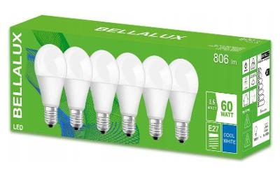 6x LED žárovka E27 8,5W = 60W 806lm 4000K BELLALUX + dárek