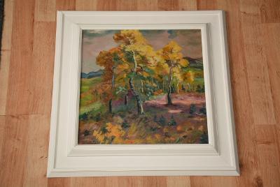 obraz, olej na dřevěné desce, krajinka