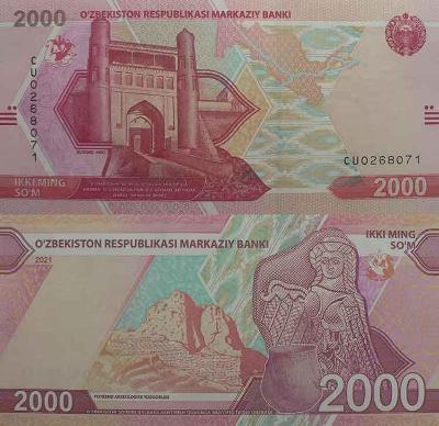 Uzbekistán 2000 som 2021  UNC