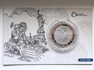 Stříbrná uncová investiční mince Tolar - Česká republika 2021 proof