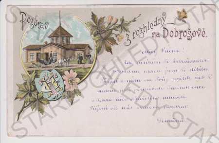 Dobrošov - rozhledna, znak, litografie, kolorovaná