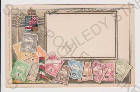 Známkové - plastická koláž, litografie, kolorovaná