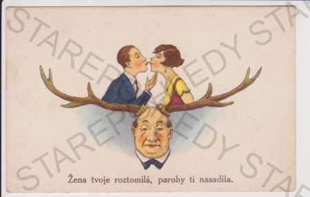 Humor - parohy, litografie, kolorovaná