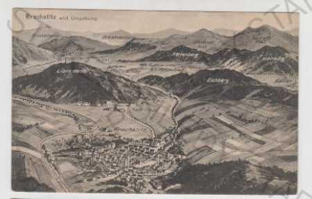 Prachatice, pohled na město, mapa