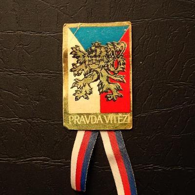 První Republika s Českým Lvem PRAVDA VÍTĚZÍ dobový odznak 70x35mm