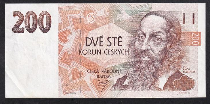 VZÁCNÁ 200 KORUNA 1993 SÉRIE A - SUPER STAV! - Bankovky
