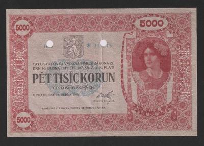 5000 korun 1919, krásná faksimile nejvzácnější čs. státovky