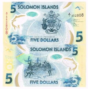 Šalamounovy ostrovy 5 dol P-New 2019 UNC Polymer