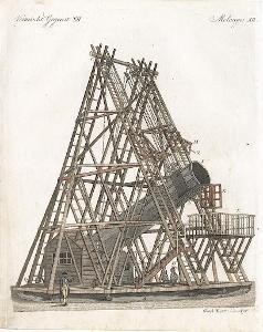 Herschel Telescop, Bertuch, kolor. mědiryt, (1800)