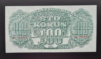 100 korun 1944, série AH, neperforovaná, pěkná.