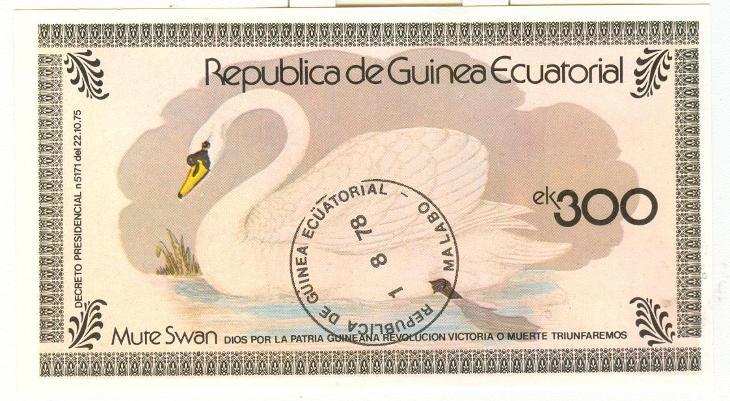 Afrika, Republica de Guinea Ecuatorial, labuť - Filatelie