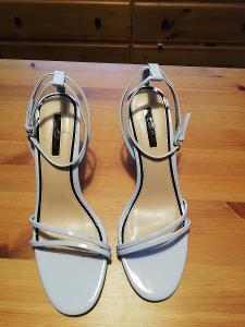 Miss Selfridge-Lux.dámské,modré společ.sandály,jehlový podpatek,40.