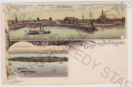 Německo, Bodensee, kolorovaná, DA, litografie